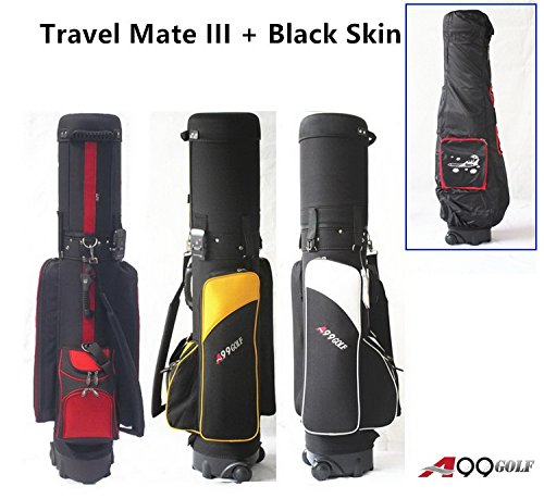 A99Golf Travel Mate III Travel golf bag with SKIN CarryOn Cover Hard Case With TSA Lock (Black/Red)