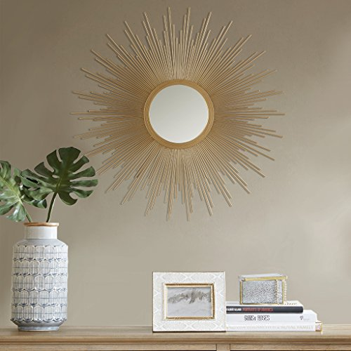 Madison Park Fiore Sunburst Mirror, Large, Gold (Gold Sunburst Mirror Wall)