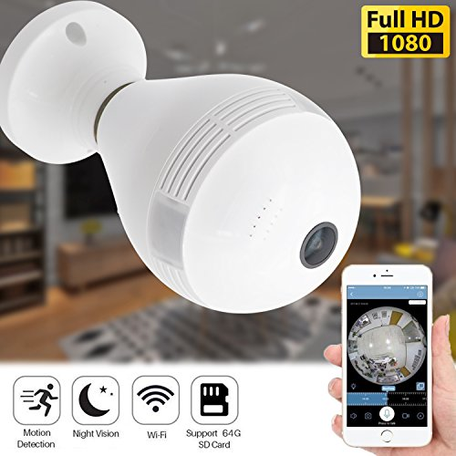 360 Panoramic Bulb Security Camera - Wireless IP Camera for Home Baby Pet Monitor Remote Viewing Camera Night Vision Motion Detection WiFi Cam