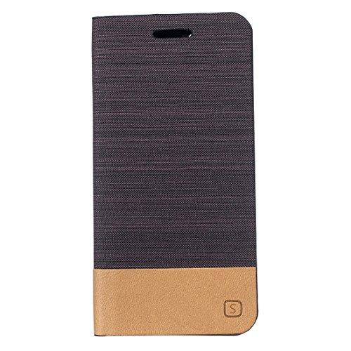 Para iPhone 7 patrón de lona PU + TPU horizontal Flip caja de cuero con ranuras de titular y tarjeta Fucaiqian ( Color : Brown ) Brown