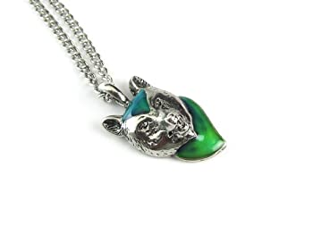 Wolf Head Color Changing Mood Pendant with Link Chain Necklace