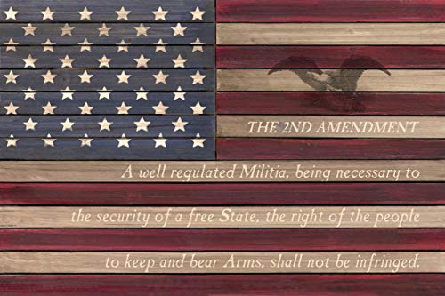 "Reflective Art 2nd US Flag-2nd Amendment Slat Wood Wall Art, 24"" Lx16 Hx2 W, Multi"