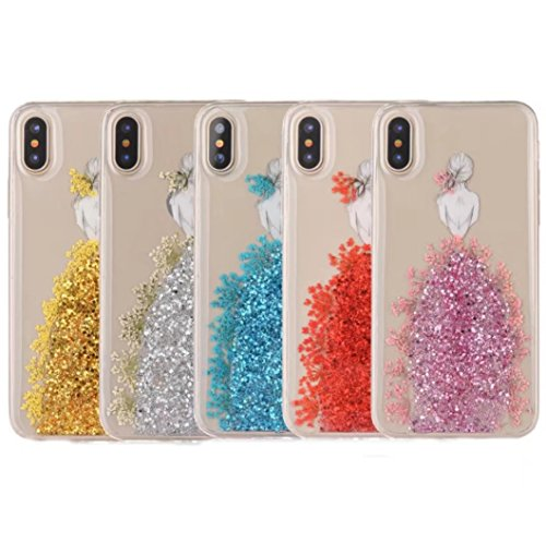 Around Petals Apple iPhone BOrange Real Dress Case X Case TPU Beautiful TAITOU Cover Bling Phone iPhone Dried Silm Fashion Pressed Soft Shiny Blossom Skirt Orange Princess Ultralight X for 4nzSfS8cW