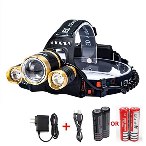 CAMTOA 5000LM Focusable Led Headlight,3 LED 3 X T6 Rechargeable Headlamp + 2R5 LED Head lamp 4 Modes Headlight Flashlight Torch For Outdoor Sports Camping Biking Hunting Fishing