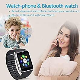 Smart Watch for Android Phones with SIM Card Slot Camera, Bluetooth Watch Phone Touchscreen Compatible iOS Phones, Smart…