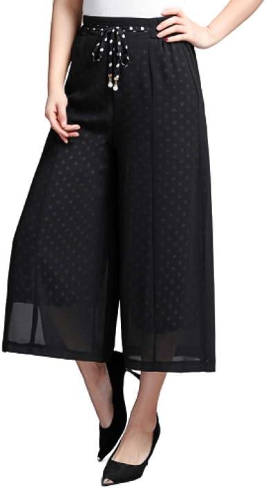 Pantalones De Pierna Ancha De Doble Capa Para Mujer Pantalones Finos De Verano Comodos Transpirables Y Con Cintura Elastica Amazon Es Ropa Y Accesorios