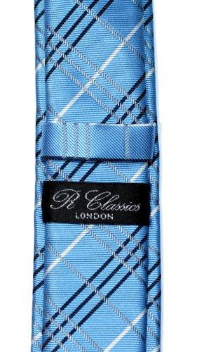 Styles Plaid Skinny Retreez Colors Tie Woven Blue Microfiber Various Check Tartan qAnpHpSU