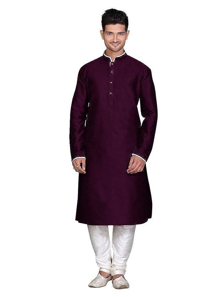 Royal Kurta Men's Silk Blend Kurta Churidar Set