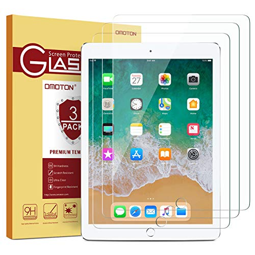[3 Pack] iPad 9.7 6th Generation Screen Protector, OMOTON Tempered Glass Screen Protector for Apple iPad 9.7