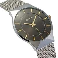 Tamlee Fashion Mesh Stainless Stylish Ultra Thin Quartz Watch Elegant Wristwatch (Black)