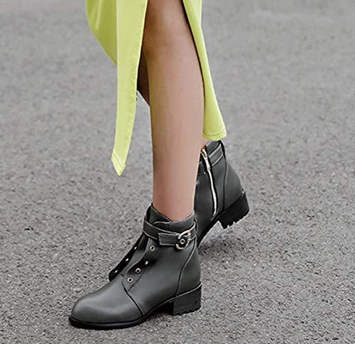 Talon Boots Moyen Ronde Low Aisun Femme 4cm Mode Bouche Vert Bottines twn8Eq48