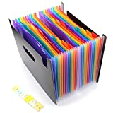 M-Aimee 24 Pockets Expanding File Folder - Plastic Rainbow Expandable File Organizer Self Standing Accordion A4 Document Folder Wallet Briefcase Business Filing Box