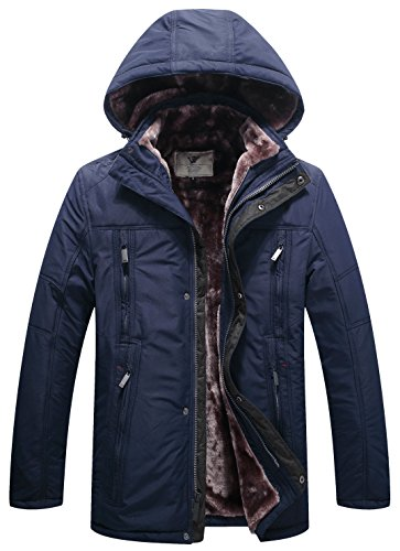 WenVen Men's Multi Pockets Sherpa Lined Parka (Fully Lined Parka)