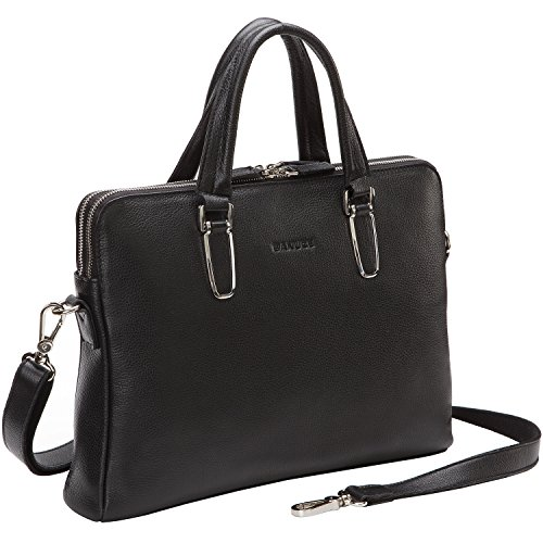 Banuce Unisex Genuine Leather Slim Briefcase Top-zip Laptop Bag Color Black by Banuce