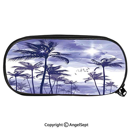 Large Capacity Student Pencil-boxExotic Tropical Tall Palm Trees at Beverly Hills Sunset on Windy Day Abstract Artsy Print Decorative Fashion Cute Animals PU Pencil HoldersBlue