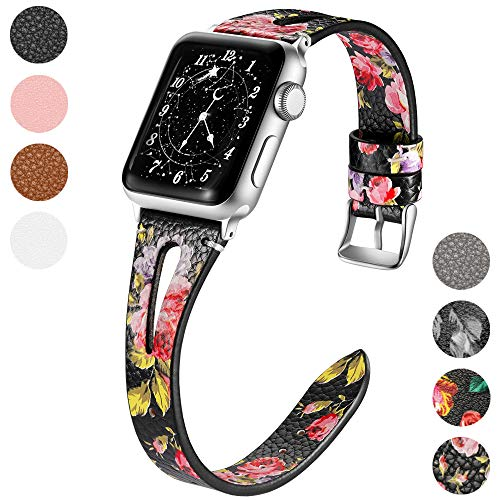 Haveda Compatible with Apple Watch Band 40mm 38mm, Premium Leather Bands for iWatch, Apple Watch Series 4 Series3/2/1, Women Slim Floral Wristband Pink Flower
