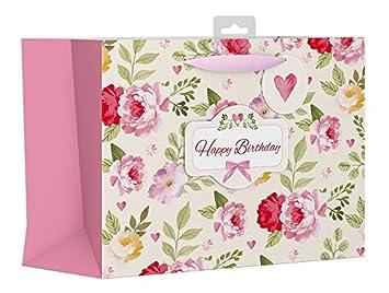 Gran Bolsa De Regalo Vintage Rosa Feliz Cumpleanos Con Flores Y