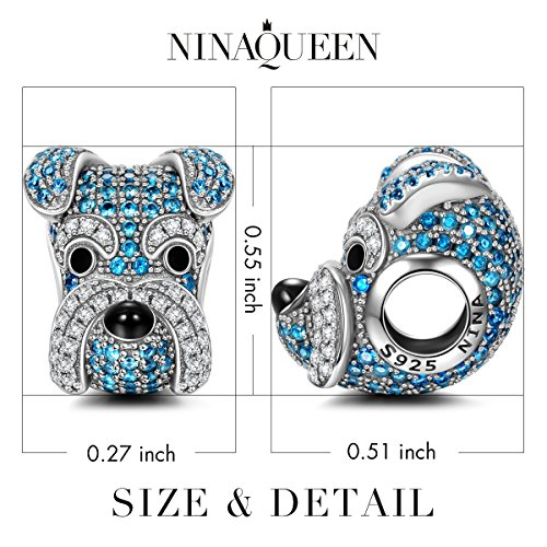 NINAQUEEN Charms ♥Graduation Gifts for Her♥ Schnauzer Knight 925 Sterling Silver Dog Bead Charms, Gifts for Animal Lovers Happy Family Series