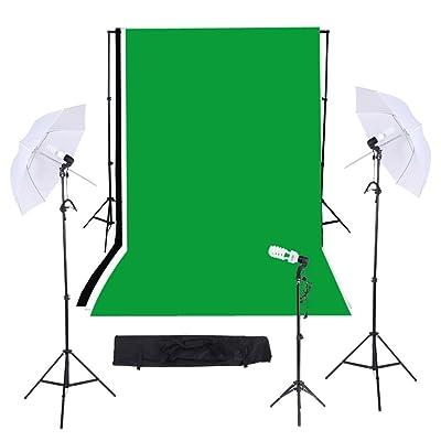 Andoer® Kit para Estudio de Fotografía / Vídeo Iluminación Triple Continuo ----Incluye--- Kit de 10ft * 12ft Fondo de telón Negro&Blanco&Verde con soporte + Bombillas + Paraguas + Bolsa