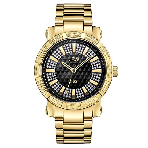 JBW Men's JB-6225-C 562 Pave Dial 18k Gold-Plated Diamond-Accented Watch ()