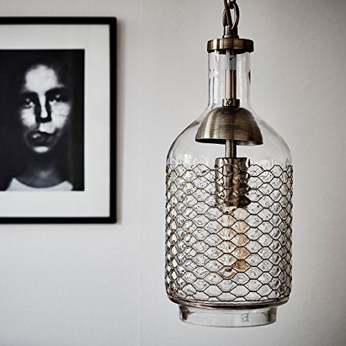 Glass And Wire Pendant Light