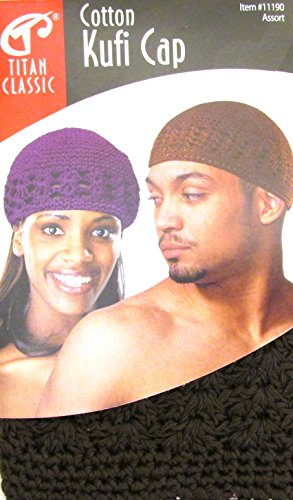 Price comparison product image Titan Classic Cotton Kufi Cap #11190 Brown, ultra stretch, fits all size, one size, stretchable
