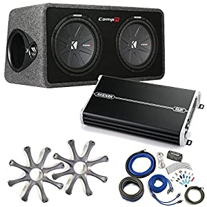 Kicker Comp R Sub Box 40DCWR122 + Kicker 1500 Watt Amp Package w/ Grilles & Kit