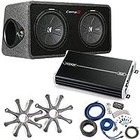 Kicker Comp R Sub Box 40DCWR122 + Kicker 1500 Watt Amp Package w/ Grilles & Kit