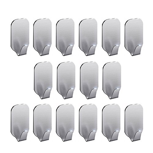 3M Adhesive Hooks, Super Power Heavy Duty J Hooks, NO Drill, NO Mark, Waterproof, Wall Mount Hooks for Coat Towel Robe Key, Design for Hotel Bedroom Bathroom Kitchen Cabinet Shower, 16 Pack, Labkiss by Labkiss