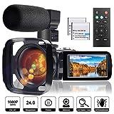 CÁMARA DE VIDEO VIDEOCÁMARA CON MICRÓFONO, Full HD 1080P 24MP 30FPS FamBrow Digital YouTube Vlogging Camera Recorder Visión nocturna 3.0 pulgadas 270 grados de rotación LCD 16X Videocámaras con zoom digital, 2 baterías