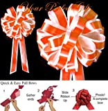 ORANGE WHITE WEDDING 8'' PULL PEW BOW BRIDAL DECORATION