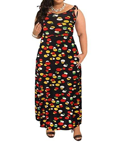 Coolred Disegno Elegante Size donne Partito Cami Bechwear 5 Vestito Plus Floreale Maxi rOxrBq