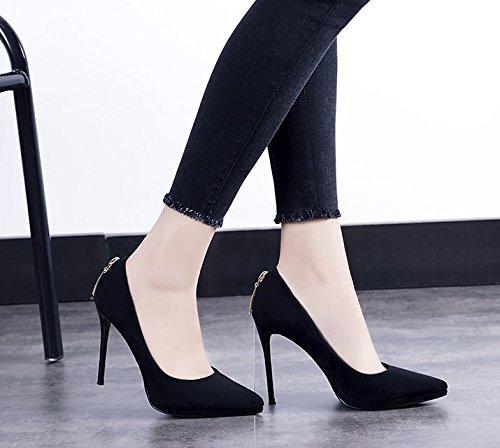 Heel Lady Leisure Shoes 37 Heel Waterproof Work High Elegant Night Platform Black Fine MDRW Shallow Shop Single Shoes 10Cm Mouth Spring Sexy Women'S Shoes 0qtdd8