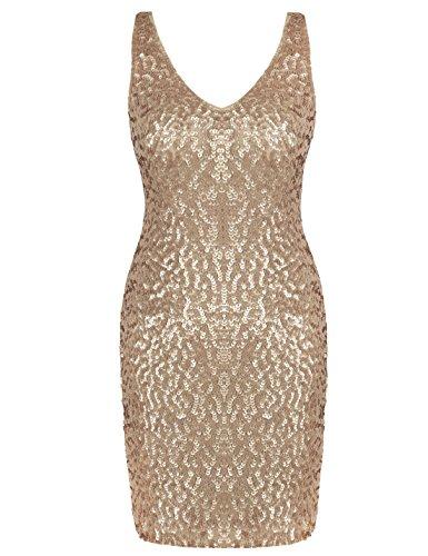 PrettyGuide Women Sexy Deep V Neck Sequin Glitter Bodycon Stretchy Mini Party Dress S Matte (Gold Mini Dress)