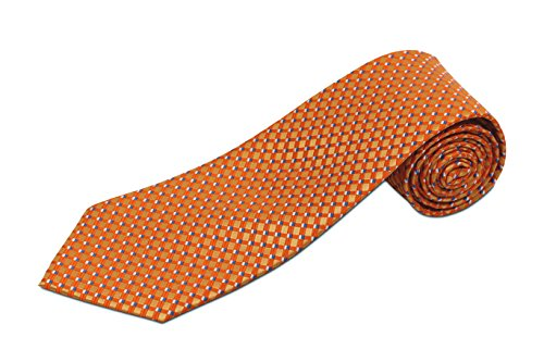 Extra Extra Long Orange and White Dot Silk Necktie
