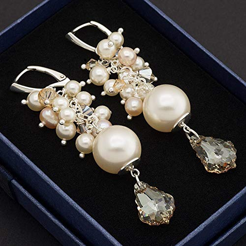 - Cream Swarovski Elements baroque crystal simulated and cultured pearl cluster sterling silver 925 bridal lever back earrings