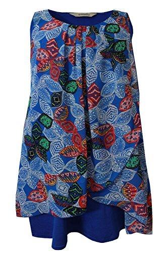 Revêtement rouge pour femme Motif Floral Bleu Taille :  robe tunique