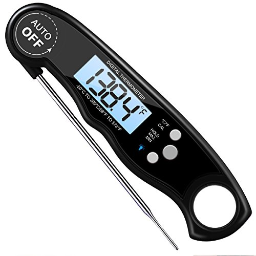 Instant Read Meat Thermometer, KeeKit Ultra Fast Cooking Thermometer with Long Probe, Waterproof Digital Food Thermometer with Calibration and Backlit Function for Candy, BBQ, Grill Meat, Milk, Tea