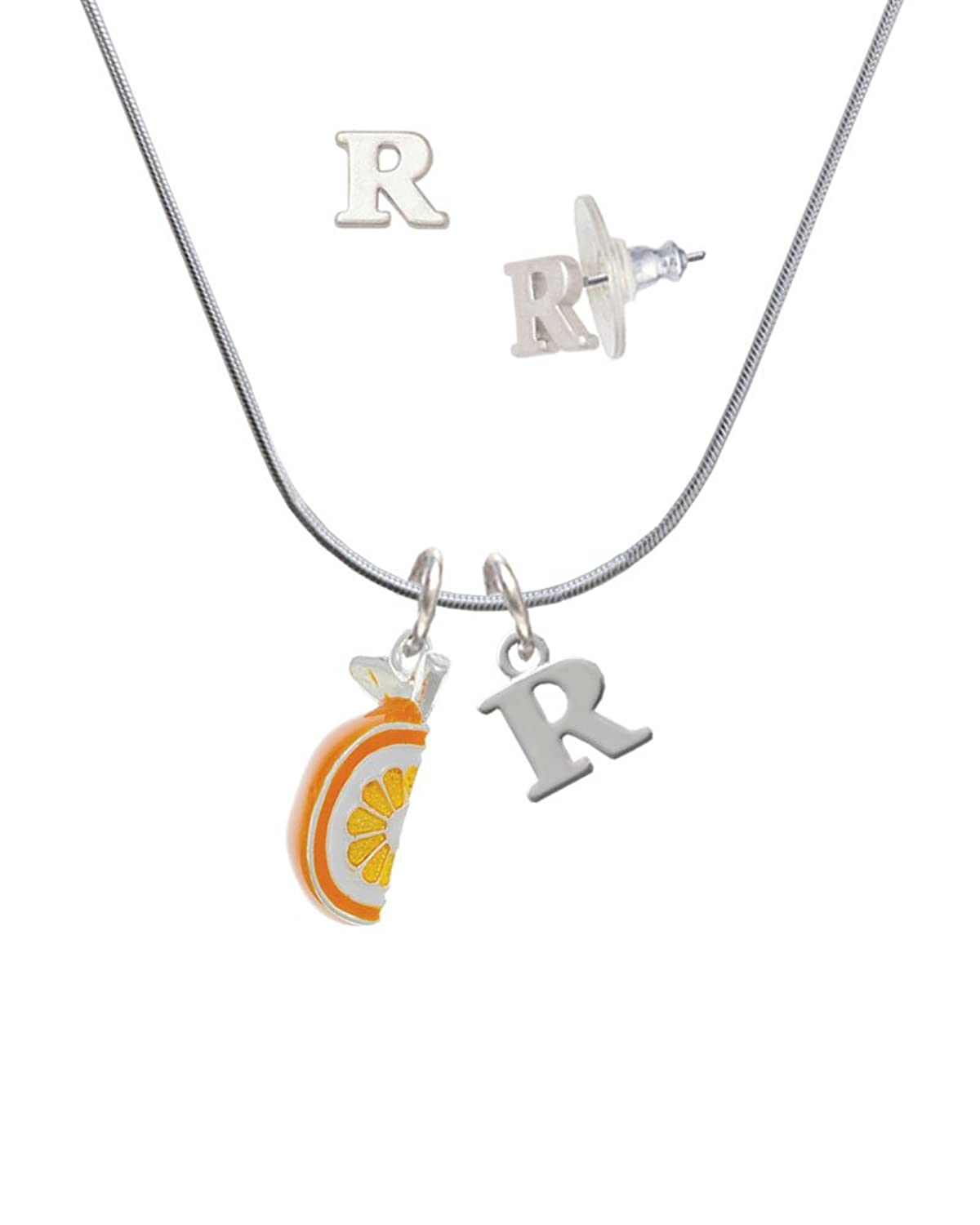 3-D Enamel Orange Slice - R Initial Charm Necklace and Stud Earrings Jewelry Set