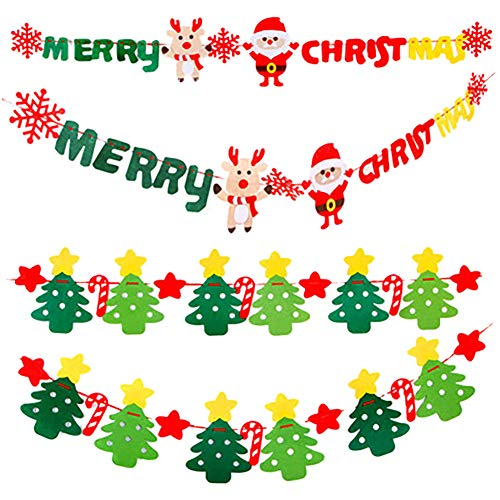 - Yarssir Merry Xmas Happy Christmas Banner Colorful Felt Banners Christmas Decoration Xmas Party Prom Decor - Deer Snowflake Santa Claus Star Sleigh Xmas Trees Ornaments