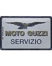 Nostalgic-Art Metalen Retro Bord, Moto Guzzi – Servizio – Geschenkidee voor motorfans, van metaal, Vintage ontwerp voor decoratie, 20 x 30 cm