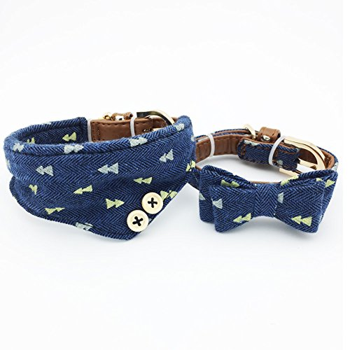 Blue Plaid Leather Dog Collar - PetFavorites Small Dog Costume Collar - Leather Bowtie Kitten Bandana Collar for Halloween - Teacup Yorkie Chihuahua Clothes Outfits Accessories, Adjustable & Handmade (Navy Note Bow + Bandana)