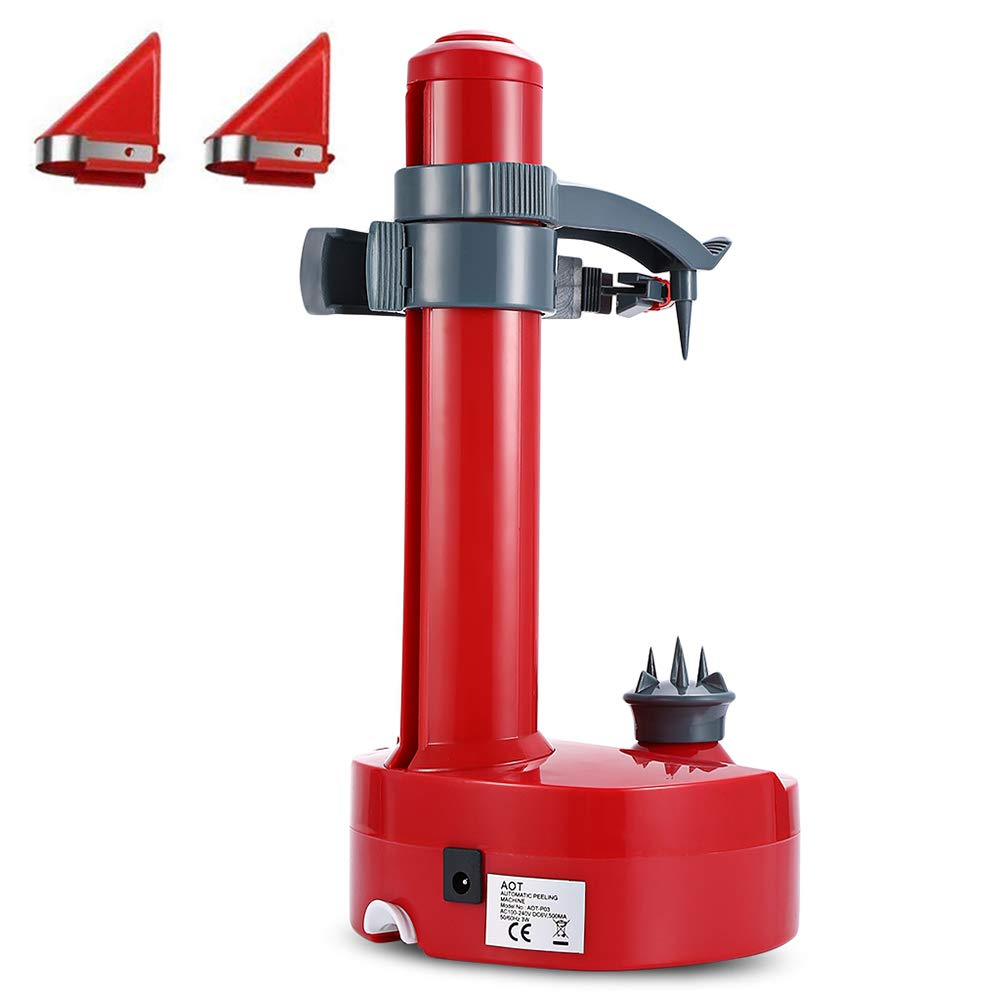 Kizove Multifunctional Electric Automatic Peeler Rotato Express Electric Peeler Automatic Rotating Fruits & Vegetables Cutter Apple Paring Machine with 2 Extra Blades (red) by Kizove