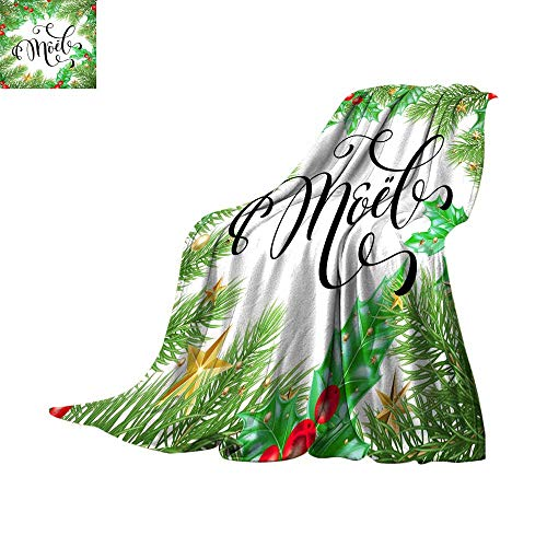 Fleece Blanket Throw Digital Printing WarmNoel French Merry Christmas hand drawn quote calligraphy and Christmas holly wreath for holiday greeting card background template VectorThrow Blanket 62