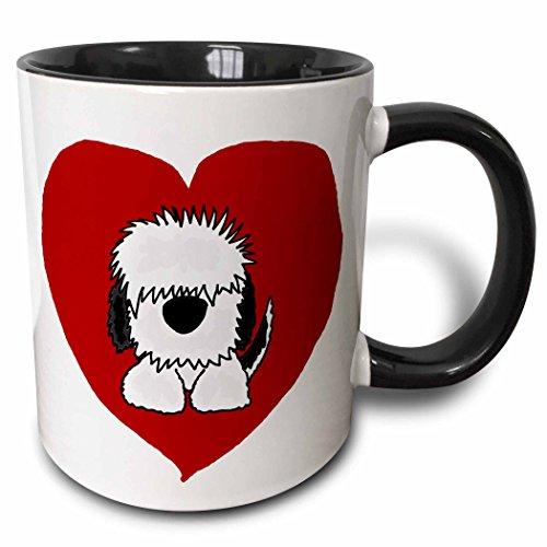 3dRose mug_201825_4 Fun White Old English Sheepdog Puppy Dog and Red Heart Love - Two Tone Black Mug, 11oz