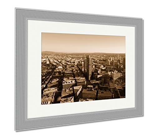 Ashley Framed Prints Vancouver City Skyline BC Canada, Wall Art Home Decoration, Sepia, 30x35 (frame size), Silver Frame, - Shops Gastown