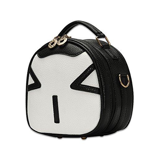 Faysting EU pelle rotondo forma bianco nero borsa a tracolla borsa a spalla buon regalo san valentino