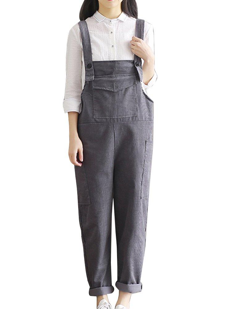 Donna Salopette Pantaloni Harem Sciolto Casual Elegante Velluto A Coste Tuta Monopezzi Tutine LaoZanA