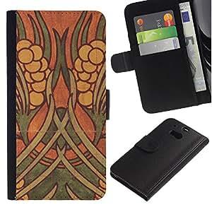 A-type (Art Wall Painting Ancient) Colorida Impresión Funda Cuero Monedero Caja Bolsa Cubierta Caja Piel Card Slots Para HTC One M8