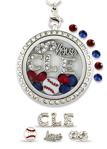 "Indians Baseball Cleveland Display (""Infinity Love Cleveland"" Pro Baseball Floating Charm Living Memory Locket Magnetic Closure 30mm Stainless Steel Pendant Necklace)"